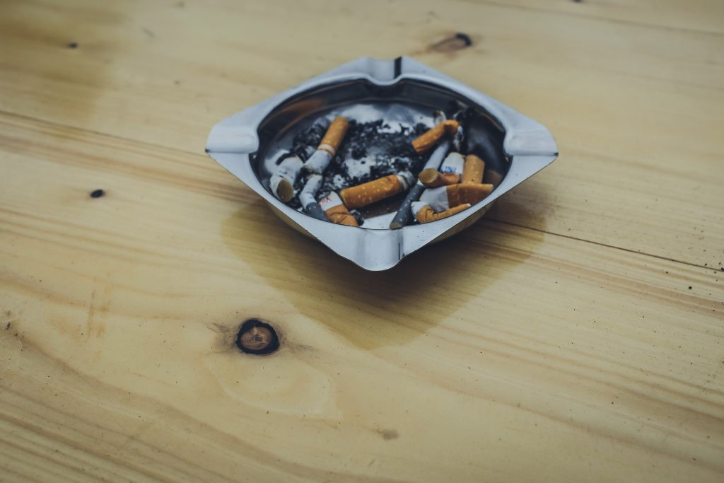 Smokers stop smoking, ashtray